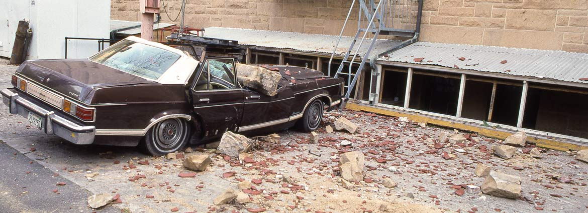 Car smashed with concrete that fell in the 1989 earthquake