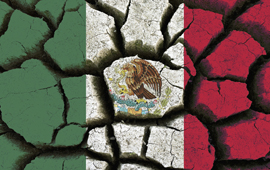 Mexican flag superimposed over parched earth