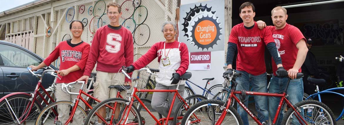 Stanford Beyond the Farm volunteers in Alameda, CA, worked on donated bikes to make them like new.