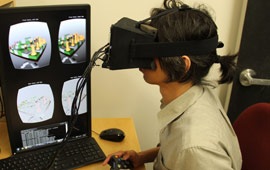 Scientist using virtual reality headset